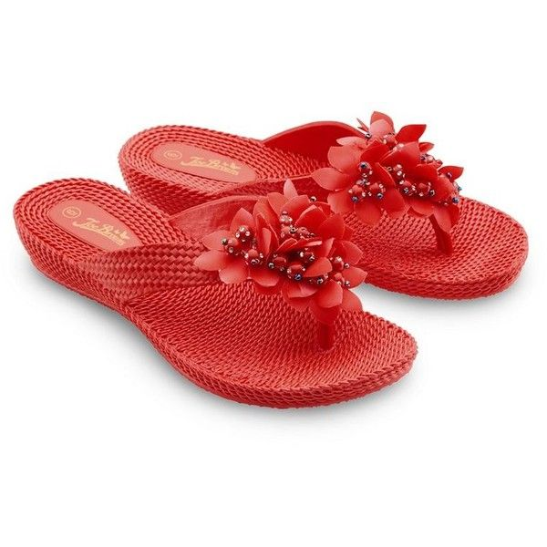 Joe Browns Red flip flops ($19) ❤ liked on Polyvore featuring shoes, sandals, flip flops, embellished sandals, embellished flip flops, decorating shoes, low heel shoes and small heel shoes
