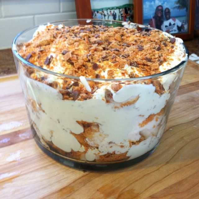 Butterfinger angel trifle     So simple and so amazing!! - But I'm switching Butterfinger for Snickers -ha ha ha!!!