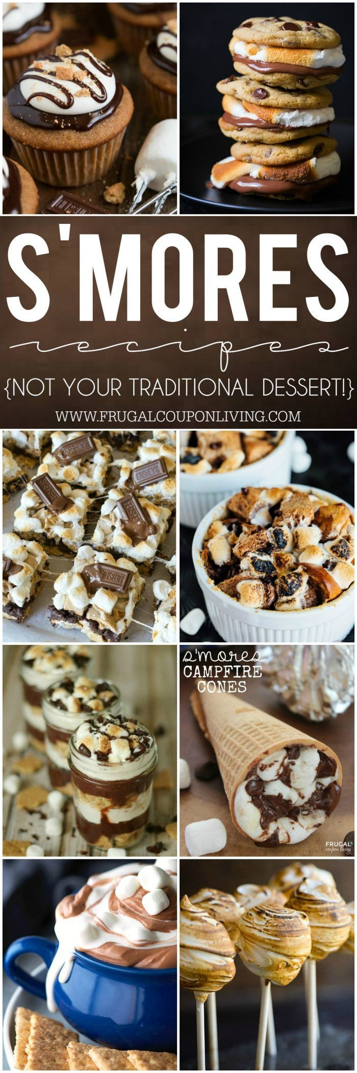 S'mores Recipes that Will Change Your Life on Frugal Coupon Living. Never make the traditional smore again! Dessert Recipe ideas.