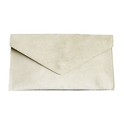 Lucia Italian Cream Leather Envelope Clutch Bag - £24.99