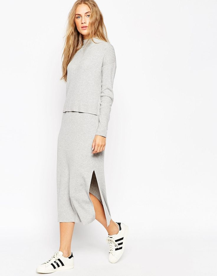 Image 1 ofASOS Midi Dress in Knit with Double Layer in Rib with High Neck