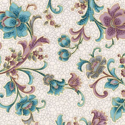 SRKM-17050-200 Villa Vintage Glazed Tile Floral on Cream With glimpses of fine Romana Villas this fabric range takes us back to a time when beautiful tiled and mosaic buildings were seen in the upper echelons of society. From Robert Kaufman Studios the glazed tile effects mixed with vintage floral bring history to life. We have selected beautiful mosaics with multiple colours, greys, creams and mauves to provide a great selection for you next quilting project. In the traditional Robert…