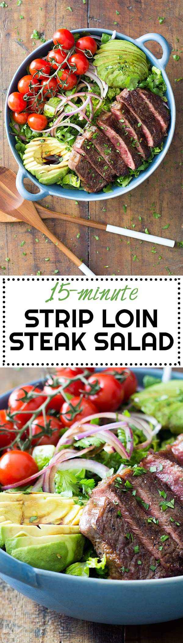 How about a delicious 15-minute prep pan-seared Strip Loin Steak on a Mexican-Style Salad? Does this sound like a good dinner? I thought so! via @greenhealthycoo