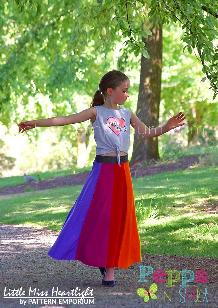 Girls Little Miss Heartlight Skirt PDF Sewing Pattern. Short & Maxi skirts with yoga style waistband. Size 2-14. Designed for stretch fabrics. A-line. Optional pockets. Paneled Festival Skirt.
