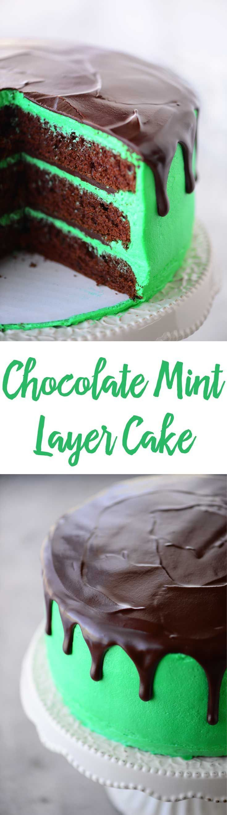 This Chocolate Mint Layer Cake recipe has tender layers of chocolate cake with fluffy mint buttercream and smooth, melt in your mouth chocolate mint ganache.