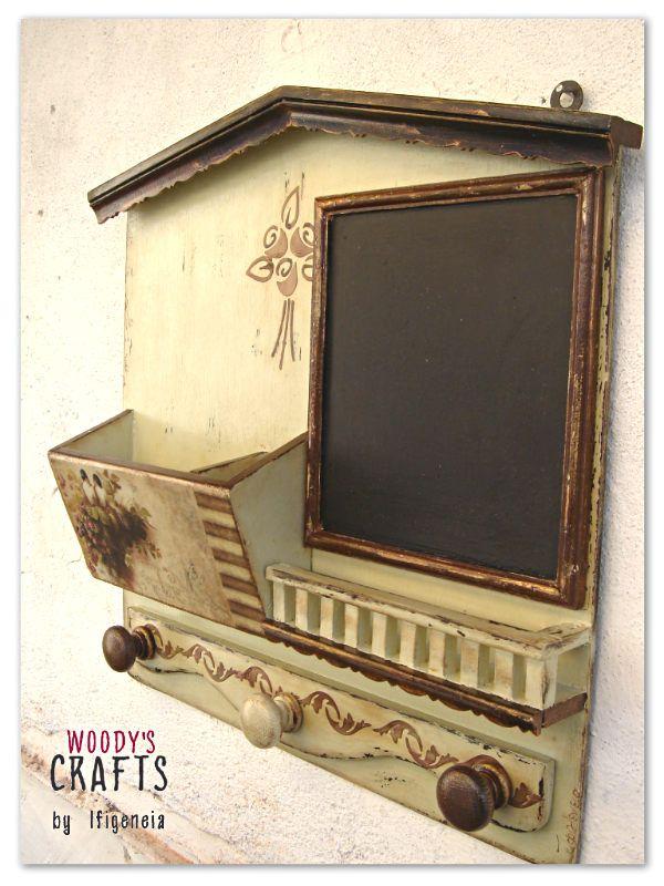 Χειροποίητη ξύλινη φακελοθήκη-κρεμάστρα με μαυροπίνακα | Διακοσμητικά τοίχου | Woody's Crafts by Ifigeneia | Ξύλινα Χειροποίητα Διακοσμητικά
