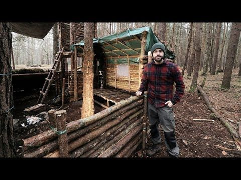 Bushcraft Camp: Full Super Shelter Build from Start to Finish. - YouTube