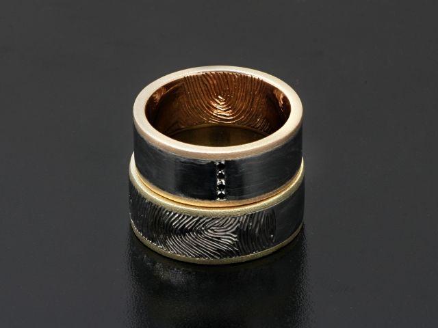 #Rings by #Bielak  M: yellow #gold/ palladium W: pink gold/ #palladium  #unique #wedding rings with #fingerprint  #HandMade in #Poland