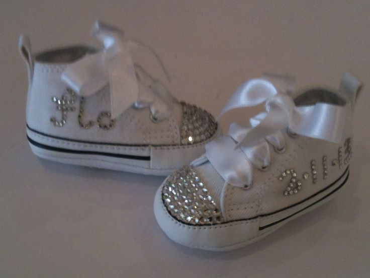 Crystal detailing on custom baby converse by crystal shoe creations . Hand made in Ireland . Find us on Facebook .. Ship worldwide ..