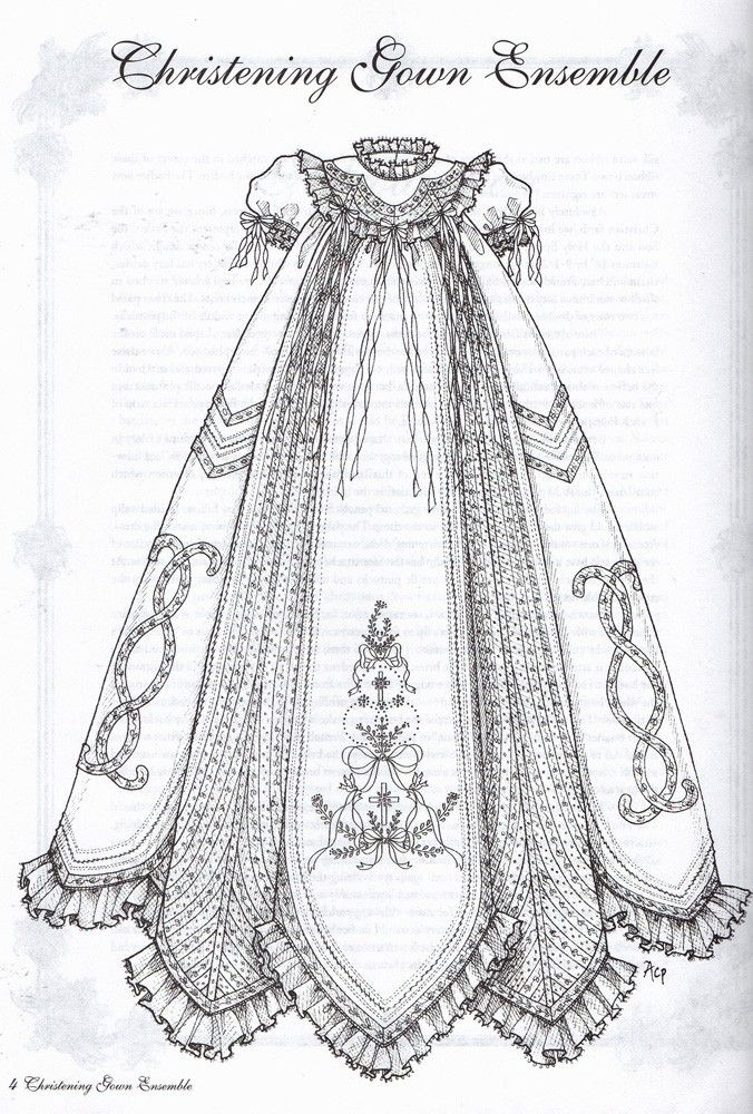 Christening Gown Ensemble Plus Antique Embroidery Designs
