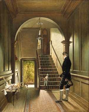 Het trappenhuis van de Londense woning van de schilder (1828) Pieter Christoffel Wonder. Olieverf op doek. Aankoop 1975.