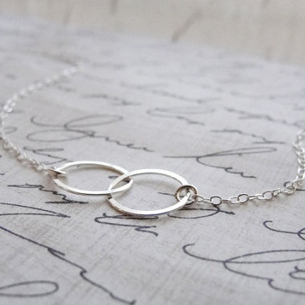 Double circle necklace - Sterling silver connected circles necklace - two circle necklace