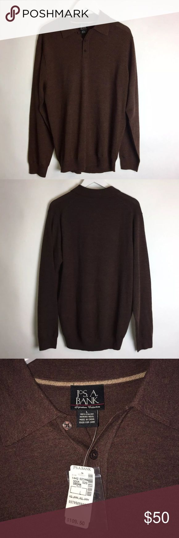 NWT Jos. A. Bank Merino Wool Polo Sweater Shirt Brand: Jos.A.BANK Item name: Men's Long Sleeve Polo Shirt Sweater Retail price $109  		 Color: Brown Condition: Brand new w/ tags. Size: Men's Large Measurements:  Pit to Pit - 22 inches Shoulder to bottom - 29 inches Jos. A. Bank Shirts Polos