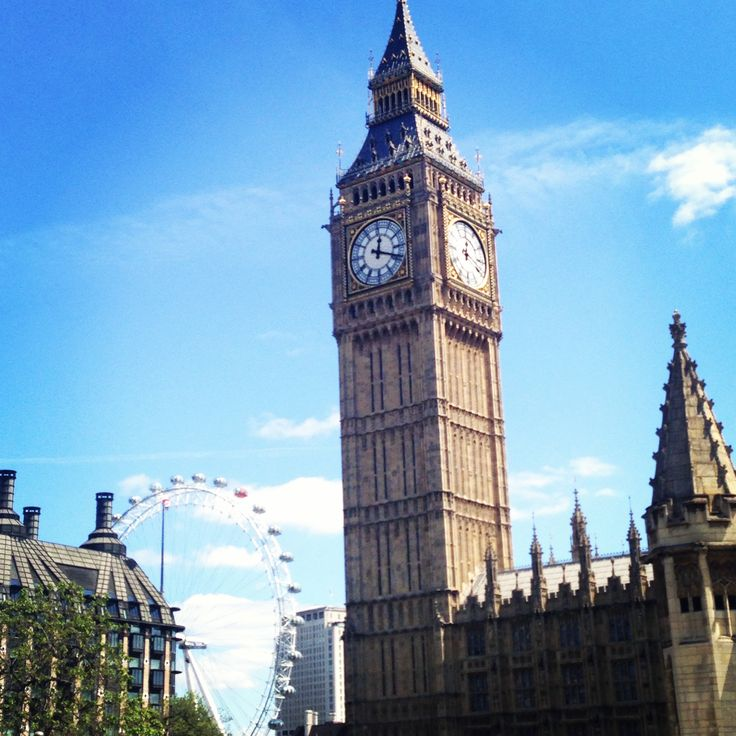 Big Ben, Tower of London, Westminster Palace, London Eye. England June, 2013