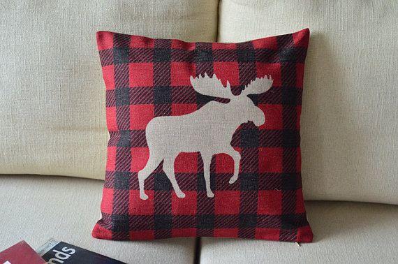 cerf de Noël de tissus rouge lin coton wapiti de Elk couvercle oreiller oreiller motif de cadeau de Noël affaire taie d'oreiller housse coussin coussin sur Etsy, $16.99 CAD