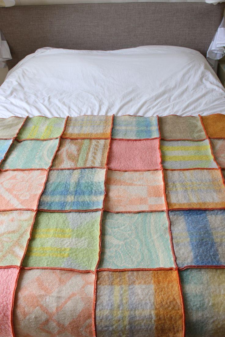 plaid van wollen dekens in pasteltinten