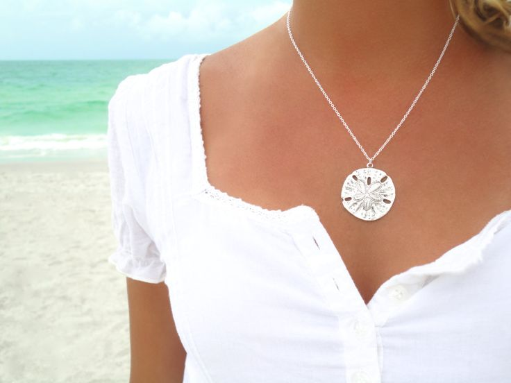 Sand Dollar Necklace Silver Sand Dollar Pendant by laromantica, $24.99