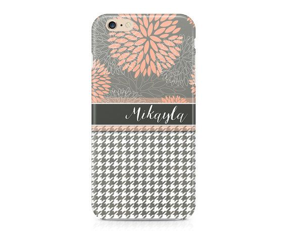 Flowers and Houndstooth Phone Case, Peach and Grey Phone Cover, Custom Phone Case, Cute Phone Case, iPhone 6S, Samsung Galaxy