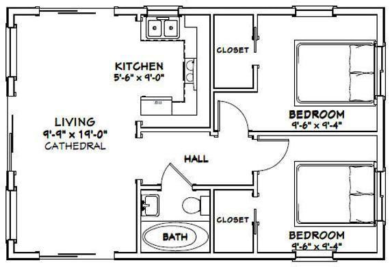 30x20 House 2 Bedroom 1 Bath 600 Sq Ft Pdf Floor Plan Instant Download Model 1 In 2021 Tiny House Floor Plans 20x30 House Plans Small House Floor Plans