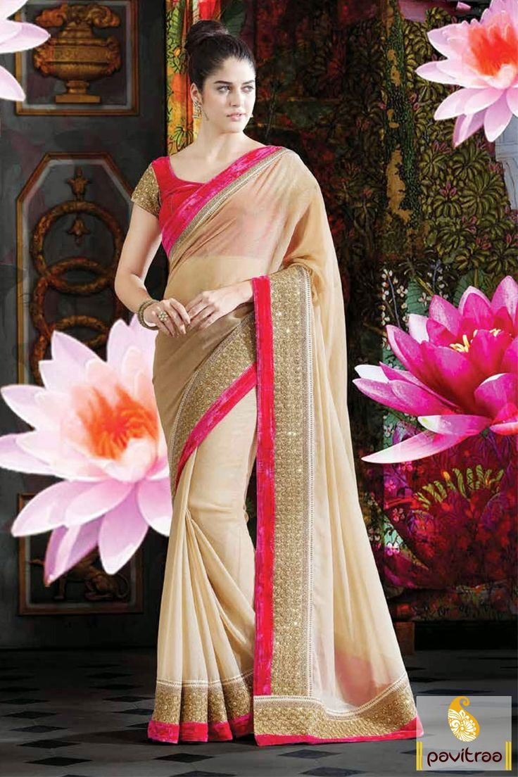 Newest carmel dark pink party wear Saree wear Saree is elegantly designed with resham, butti and multi thread embroidered works in chiffon.