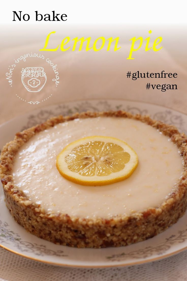 Nobake lemon pie with cashew crust (healthy, sugarfree, glutenfree, dairyfree, eggfree, vegan recipe)