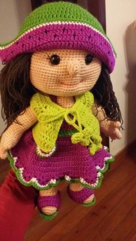 Muñeca Sandia. Hecha con el patrón de mi diseñadora preferida Havva Unlu
