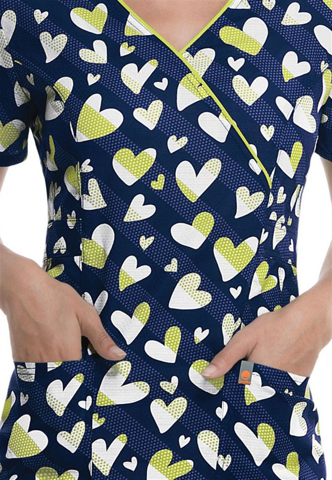 Code Happy Love to Smile print scrub top | Scrubs and Beyond