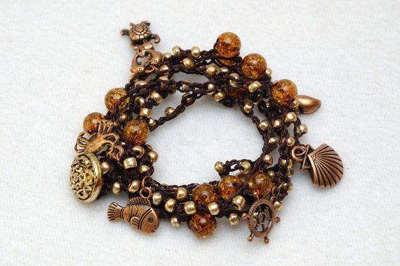 Wrap armband Boheemse armband Beaded door PrettyCrochetForYou
