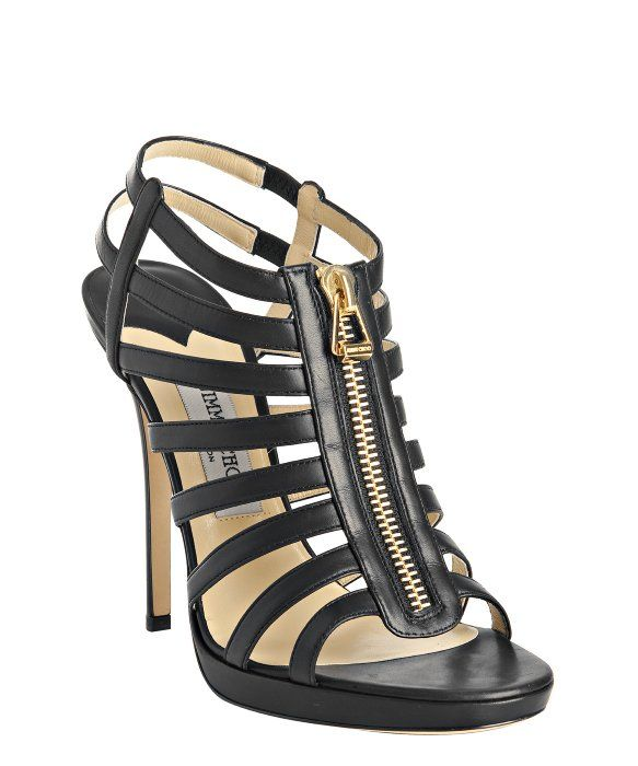 Jimmy Choo : black leather 'Glenys' platform zip sandals