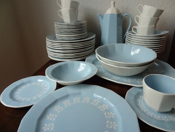 SALE: Blue 1958 Harkerware Petit Fleur 47 Piece Dish Set Harker Cameoware Robins Egg Blue White Flowers Blue and White Dishes Aqua (CH385)