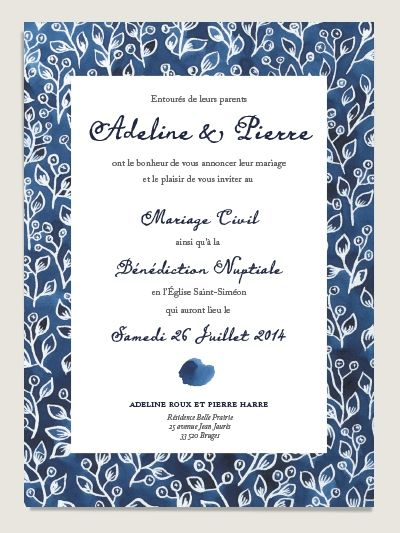 faire part de mariage original au motif aquarelle indigo recto - Faire Part Mariage Etsy