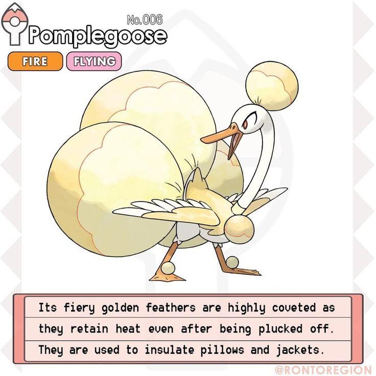 "RONTO DEX 006. Pomplegoose Type: Fire/Flying Species: Golden goose pokémon Abilities: Flame body/Flash Fire H: 4' 10"" W: 118 lbs #fakemon #pokemon #pokedex #pokédex #pokémon #pokemonart #fakemonstarter #firestarter #firetype #firepokemon #ronto #rontoregion"