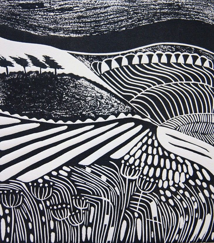 Windswept by Cathy King - 2011 Linocut - 14.5cm x 16 cm - Edition Size 25 - Printed on Fabriano Paper