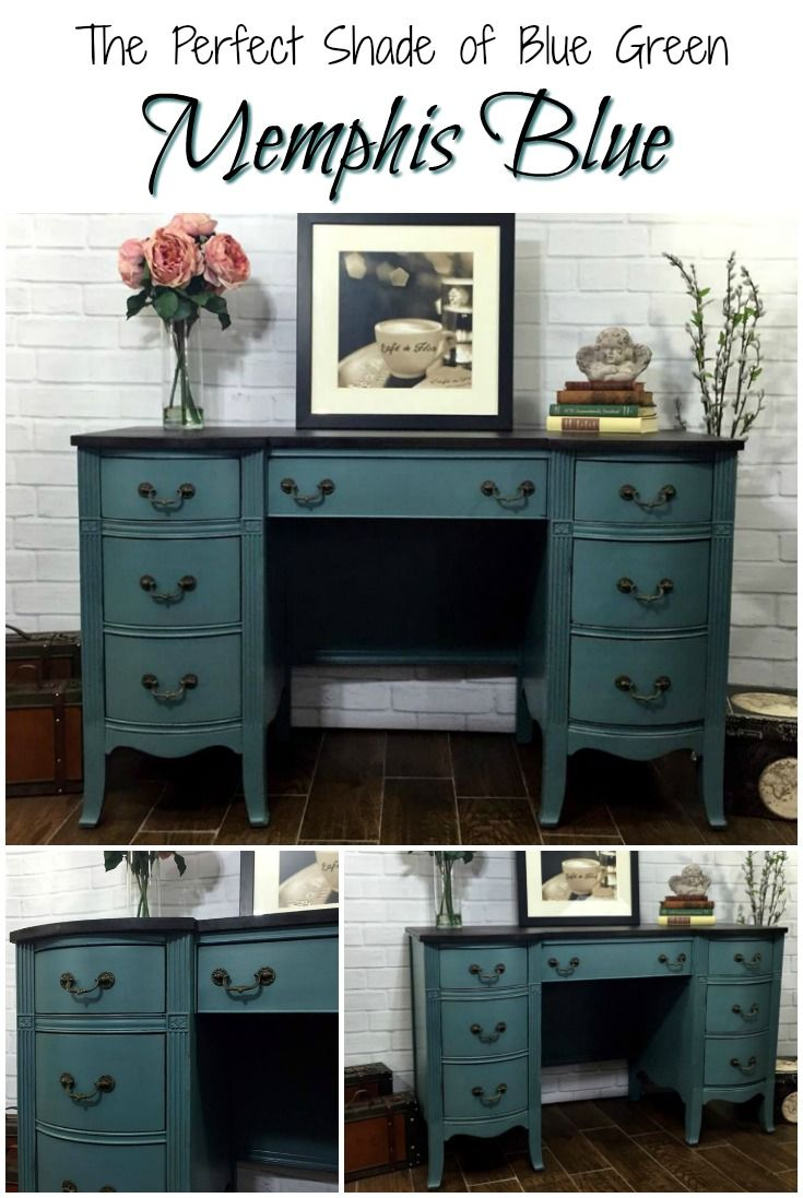 Looking for the perfect shade of blue green paint for painting furniture or other crafts? Look no further! Memphis Blue is a gorgeous non toxic chalky paint