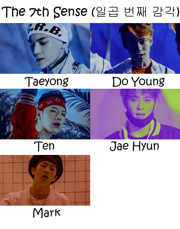 "The members of NCT U in ""The 7th Sense"" MV"