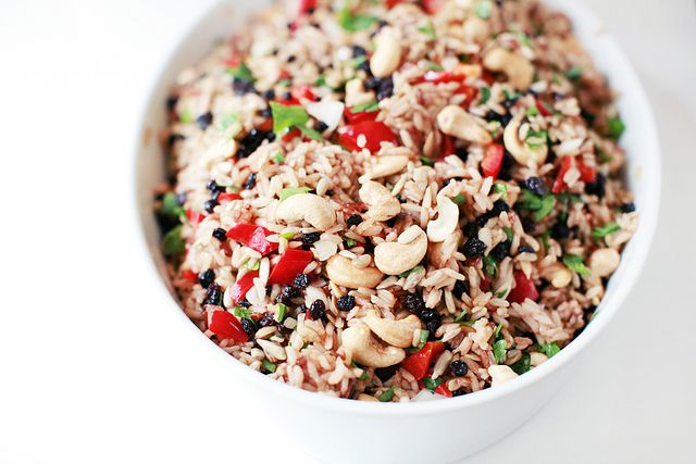 Brown Rice Salad with Currants, Cashews and Capsicum