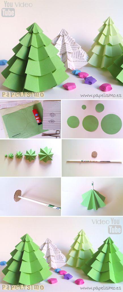 Árbol de Papel Navidad | http://papelisimo.es/como-hacer-arbol-navidad-papel-diy-how-to-make-christmas-paper-tree/