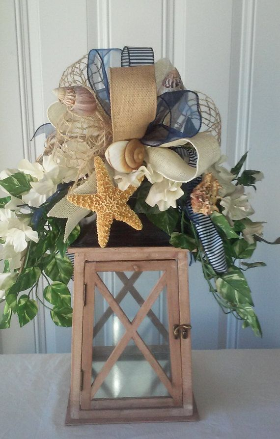 LANTERN INCLUDED  Seashell lantern swag swags by GloriousMeshDecor