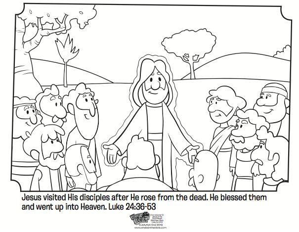 Kids coloring page from What's in the Bible? featuring the Jesus appearing to His disciples from Luke 24:36-53. Volume 10: Jesus is the Good News!