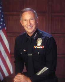 Daryl Gates (born Darrel Francis Gates;[3] August 30, 1926 – April 16, 2010) was the Chief of the Los Angeles Police Department (LAPD) from 1978 to 1992. His length of tenure was second only to that of William H.Parker. As chief of police, he took a hardline, aggressive, paramilitary approach to law enforcement. Gates is credited with the creation of SWAT teams and DARE. After the Rodney King beating and the riots afterward, Gates resigned from the police department.