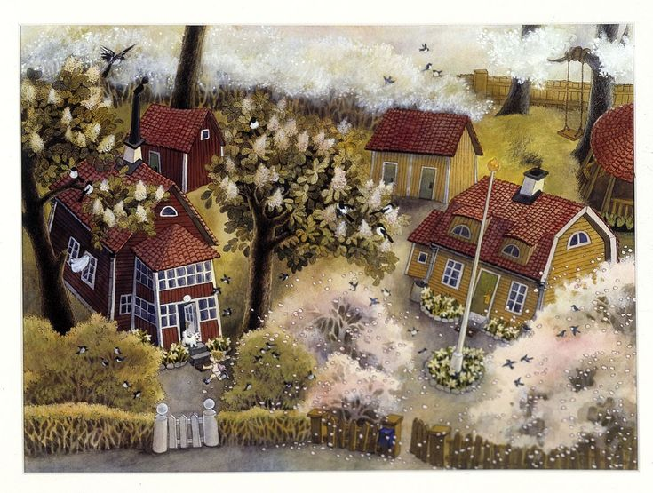 Ilon Wikland - a wonderful Swedish (Estonian born) illustrator who is well-known for all her illustrations to Astrid Lindgren's books of Bröderna Lejonhjärta, Mio min Mio, Barnen i Bullerbyn, Ronja Rövardotter and more.