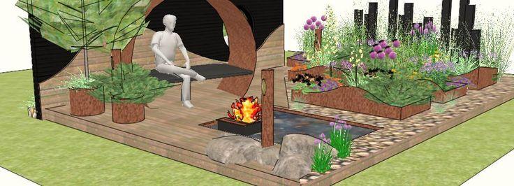 """Tegning af showhaven """"En have mellem himmel og hav"""" designet af Birgitte Busch og Nina Ewald."""