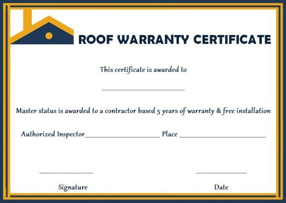 Roofing Warranty Certificate Templates Free Certificate Templates Certificate Of Completion Template Certificate Of Recognition Template