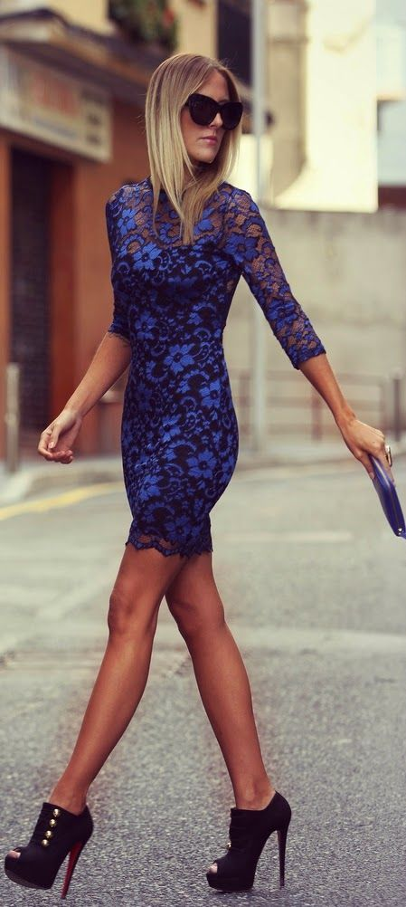 street style blue lace dress @wachabuy http://wachabuy.com/50-summer-outfits-worth-copying/