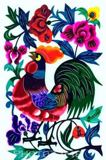 Rooster - Chinese Zodiac Paper Cutting Art