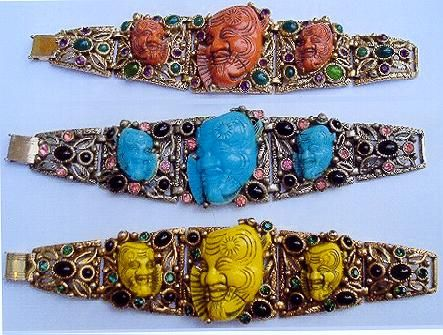 3 Selro brcelets featuring the old Asian man faces in corl, turquoise and yellow