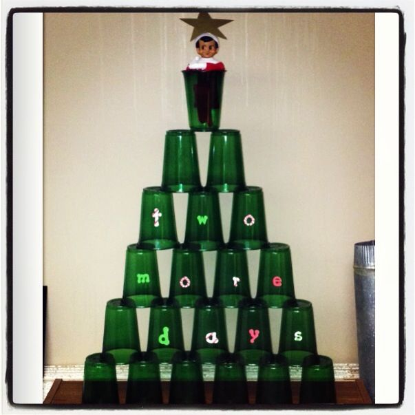 Christmas Tree Made Of Plastic Cups
