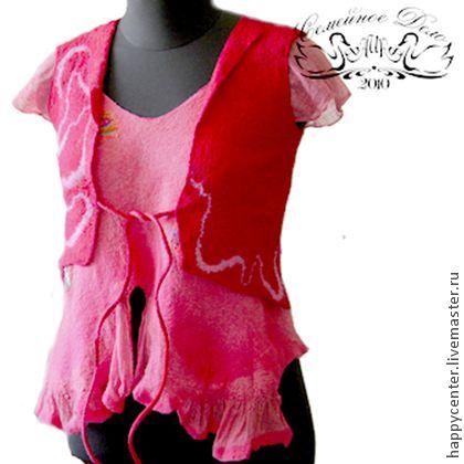 Комплект Валяная блузка-туника и Жилет. - женская одежда,войлок,войлок ручной работы