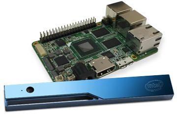 Плата Up Board построена на базе 4-ядерного процессора Cherry Trail Atom x5-Z835, ОЗУ 4 ГБ, флэш-память 32 ГБ eMMC, 4 порта USB 2.0 и один порт USB 3.0, Gigabit Ethernet, HDMI, два других разъема. Может работать под Windows, Android, Linux.