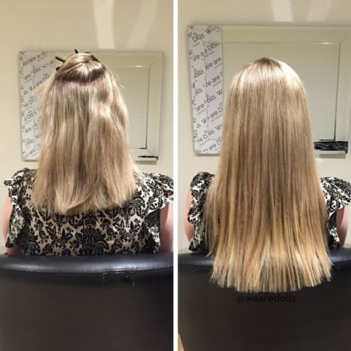 Full head of tape extensions cut to a natural length